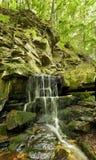 Vattenfallet i berg, vaggar i landsc för den skogUkraina lodlinjen arkivfoton