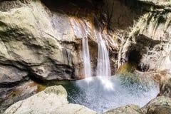 Vattenfallet i Skocjan grottor parkerar, naturarvplatsen i Sloven Royaltyfria Foton