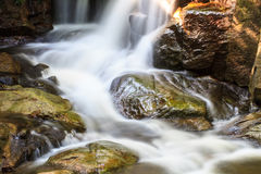 Vattenfallet och vaggar dolt med mossa Fotografering för Bildbyråer