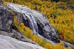 Vattenfallet på vaggar i bergen i den guld- hösten Royaltyfria Foton