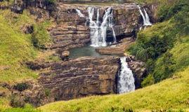 vattenfallet stenar den gröna mossaregnskogen fotografering för bildbyråer
