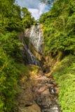 vattenfallet stenar den gr?na mossaregnskogen royaltyfri bild