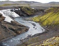 Vattenfallkaskad på floden Skoga i Island Royaltyfri Foto