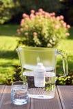 Vattenfilter och ett rent exponeringsglas av ett klart vatten på sommarträdgårdbakgrunden royaltyfri fotografi