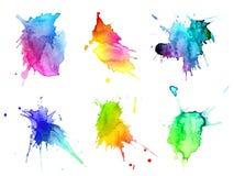 vattenfärg för hand för abstrakt begrepp blots tecknad set Arkivfoto