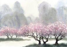 vattenfärg för park för höstbroliggande liten Blomningträd nära floden Arkivbild