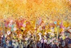 Vattenfärg som målar fält för vita blommor Arkivbilder