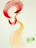 Färgrikt räcka den utdragna illustrationen av den stilfulla kvinnan Arkivbilder