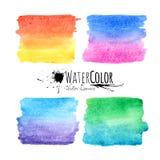 Vattenfärgen texturerad målarfärg befläcker den färgrika uppsättningen Arkivbilder