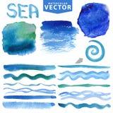 Vattenfärgfärgstänk, borstar, vinkar Blått hav, hav Sommaruppsättning Royaltyfri Foto
