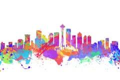 Vattenfärgkonsttryck av horisonten av Seattle Arkivbilder