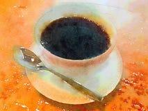 Vattenfärgkopp av svart kaffe i tekopp med skeden Arkivbilder
