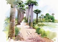 Vattenfärgmålning av sommarlandskapet parkerar vägen med trädvektorillustrationen Arkivfoto