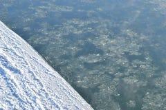 Vattenfrysningar, iskanten Bakgrund Arkivbilder