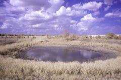 Vattenhål under en molnig blå himmel Royaltyfri Fotografi
