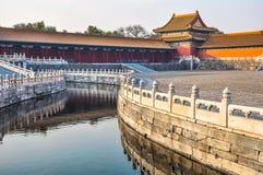 Vattenkanal i den imperialistiska slotten i Peking Arkivbild