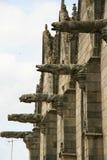 Vattenkastare dekorerar fasaden av en basilika (Frankrike) royaltyfria bilder