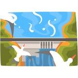 Vattenkraftstation, industriellt begrepp för hydroenergi, horisontalvektorillustration för förnybara resurser stock illustrationer