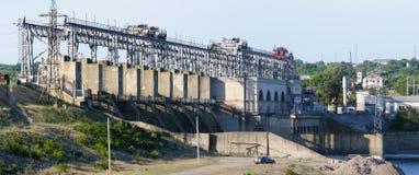 Vattenkraftväxt på floden Dniester, Moldavien Fotografering för Bildbyråer