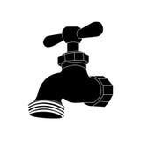 Vattenkran- eller klappsymbolsbild royaltyfri illustrationer