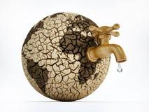 Vattenkran på öde jord med sprucken jord illustration 3d royaltyfri illustrationer