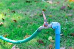Vattenkran på gräsvall Royaltyfri Fotografi