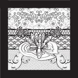 VattenLily Flower Black White Marker konst Royaltyfri Bild