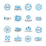 Vattenlogouppsättning royaltyfri illustrationer