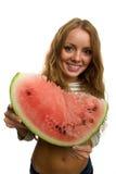 vattenmelon för flickaholdingstycke Fotografering för Bildbyråer