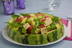 vattenmelon för ostfetasallad Arkivbild