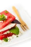 vattenmelon för ostfetasallad Arkivbilder