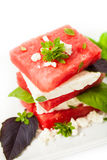 vattenmelon för ostfetasallad Royaltyfria Bilder