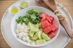 vattenmelon för ostfetasallad Royaltyfri Fotografi