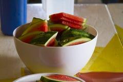 Vattenmelon i en bunke Royaltyfri Fotografi