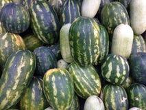 Vattenmelon i en skördad hög Arkivfoton
