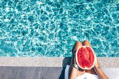 Vattenmelon i pölen Royaltyfria Foton
