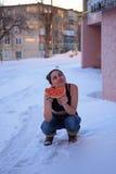 Vattenmelon i vinter Fotografering för Bildbyråer