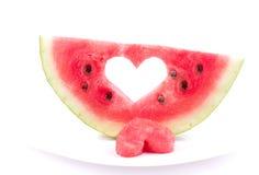 Vattenmelon med isolerad hjärta Arkivfoto