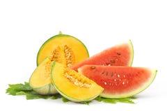 Vattenmelon- och cantaloupemelon royaltyfri fotografi