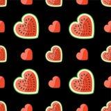 Vattenmelon och hjärtor på sömlös modell. Svarta lodisar Vektor Illustrationer