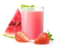 Vattenmelon- och jordgubbesmoothie Fotografering för Bildbyråer