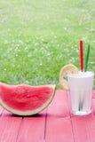 Vattenmelon och lemonad Fotografering för Bildbyråer