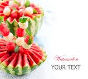 Vattenmelon- och melonbollar Arkivbild