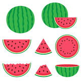 Vattenmelon och skivor Arkivfoto