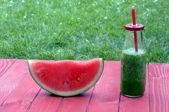 Vattenmelon och smoothie Royaltyfria Bilder