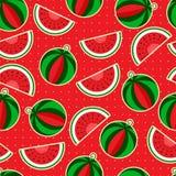 Vattenmelon på en röd bakgrund Fotografering för Bildbyråer