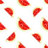 Vattenmelon skivar den sömlösa modellen som isoleras på vit bakgrund Fotografering för Bildbyråer