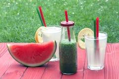 Vattenmelon, smoothie och lemonad Royaltyfri Bild