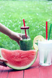 Vattenmelon, smoothie och lemonad Royaltyfri Fotografi
