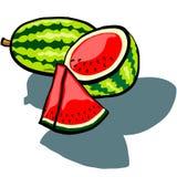 Vattenmelon som är hel som är halv och kil Arkivbild